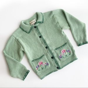 VTG Baby Togs green floral knit cardigan sweater